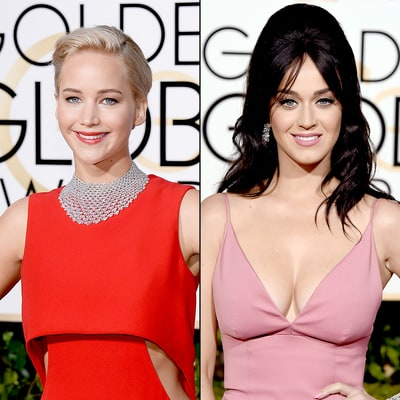 Katy Perry Fangirls Over Jennifer Lawrence at Golden Globes 2016: Watch!