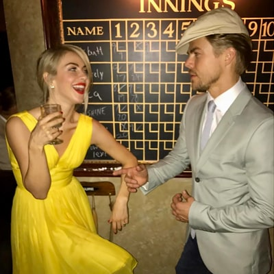 Derek and Julianne Hough Dazzle in 'La La Land' Costumes at Nina Dobrev's Birthday Party