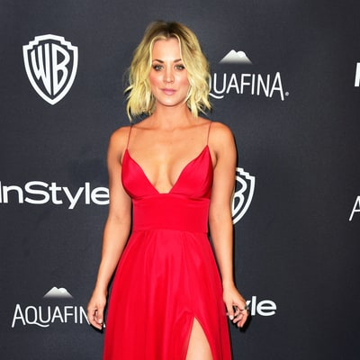 Kaley Cuoco Brings the Heat in a Plunging Red Dress at the Golden Globes Afterparty