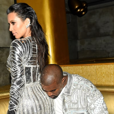Kanye West Uses Kim Kardashian's Butt as a Pillow, and More Balmain Party Pics