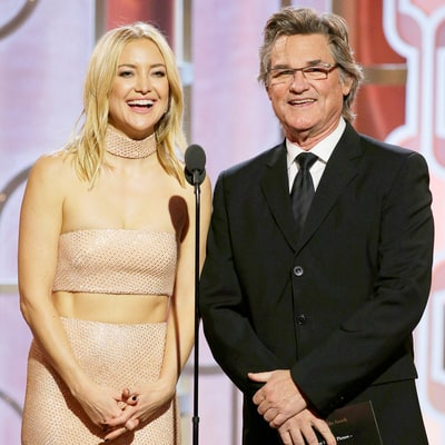 Kate Hudson Adorably Presents With Father Figure Kurt Russell at Golden Globes 2016