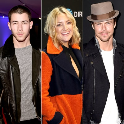 Kate Hudson Chats With Ex Flings Nick Jonas, Derek Hough at Super Bowl — at the Same Time!