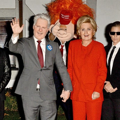 Katy Perry Dresses Up as Hillary Clinton for Halloween, Orlando Bloom Goes as Trump