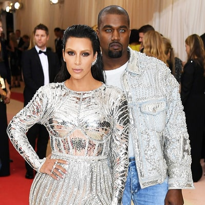Kim Kardashian, Kanye West Wear Matching Balmain — and Kanye Has Blue Contacts! — at Met Gala 2016