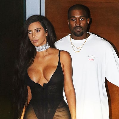 Kim Kardashian Upstages Kanye West in Low-Cut Sheer Black Dress at His Miami Concert