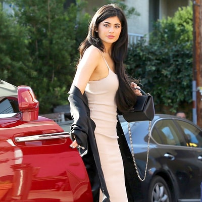 Kylie Jenner's Date Night Style Includes Curve-Hugging Dress, Lace-Up Booties