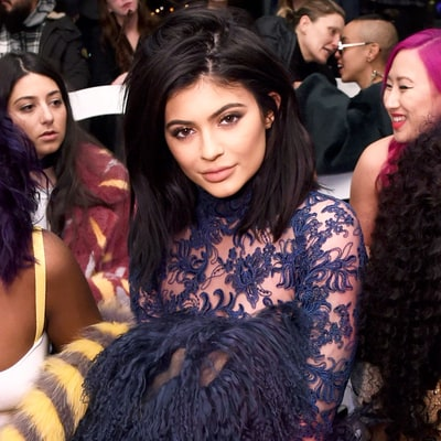 Kylie Jenner Wears Racy Sheer Lace Jumpsuit to Tyga's Fashion Week Performance