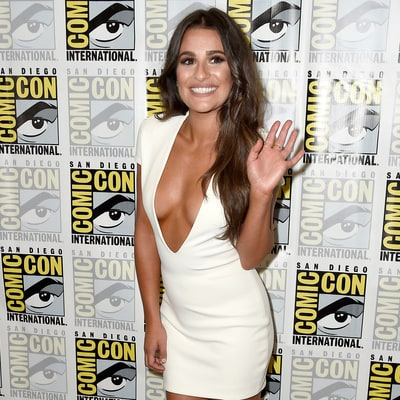Lea Michele Flaunts Crazy Cleavage in Plunging White Dress at 'Scream Queens' Panel