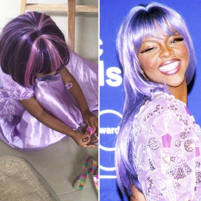 Kim Kardashian's Daughter North West Channels Lil' Kim With Purple Wig