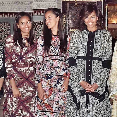 Michelle, Malia and Sasha Obama Coordinate in Paisley Prints for Dinner in Morocco