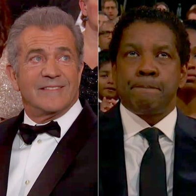 Mel Gibson and Denzel Washington Both Looked Unhappy to Lose at Oscars 2017