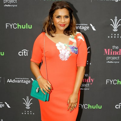 Mindy Kaling Perfectly Pulls Off an Orange Dress at 'The Mindy Project' Style Event