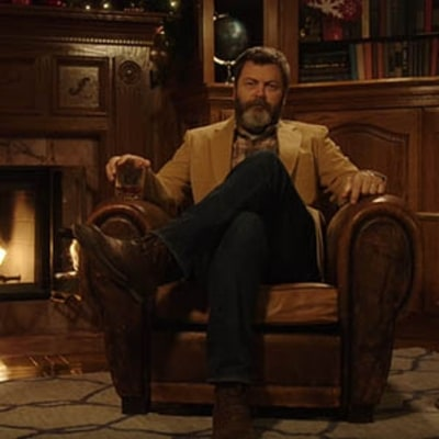 Today's Meditation: Watch Nick Offerman Drink Whisky by a Fire in Silence
