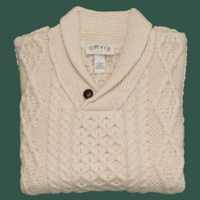 Orvis Aran Irish Shawl Sweater: Golfer Gift Guide