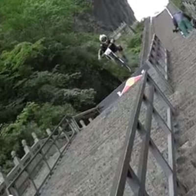 Watch Bike Racers Plunge Down 1,000 Stone Steps in China