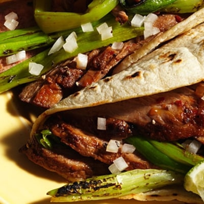 Bistec Adobado with Grilled Green Onions (Tacolicious, San Francisco)