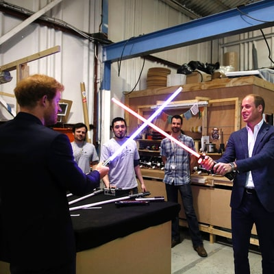 Prince William and Prince Harry Have a Lightsaber Fight on 'Star Wars' Set: Photos!