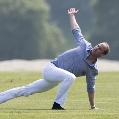 Prince William Does Yoga in a Polo Field While Wearing White Jeans: Photos