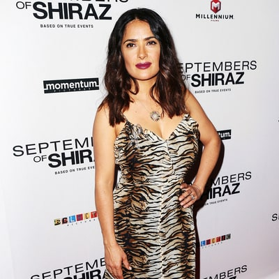 Salma Hayek Looks Fierce in a Tiger-Print Slip Dress on Red Carpet