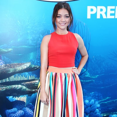 Get Sarah Hyland's Colorful Crop Top and Striped Skirt for Less
