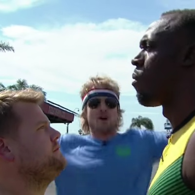Watch Usain Bolt Race James Corden, Owen Wilson