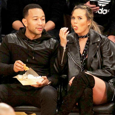 Chrissy Teigen Made So Many Funny Faces at a Basketball Game With John Legend
