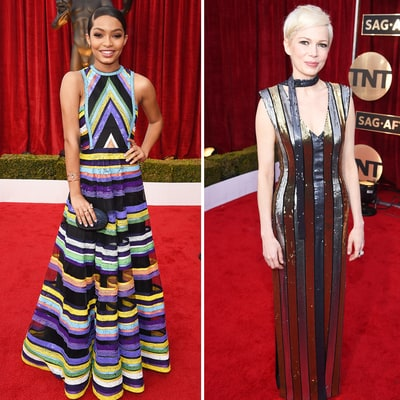2017 SAG Awards: Michelle Williams, Michelle Dockery, Naomie Harris and Yara Shadidi Go For the Bold in Stripes