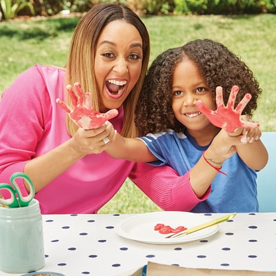 Watch Tia Mowry and Her Son Cree Make Shark Backpacks
