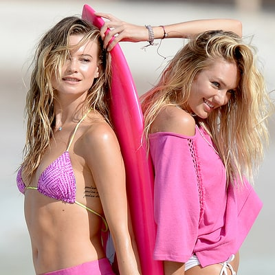 Candice Swanepoel, Behati Prinsloo Strip Down to Bikinis for Victoria's Secret Swim Special: Pictures